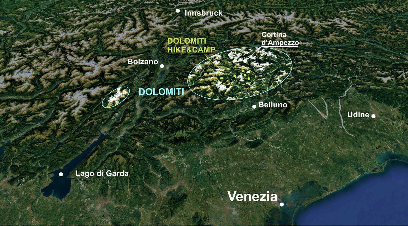 Dolomiti Hike&Camp Map